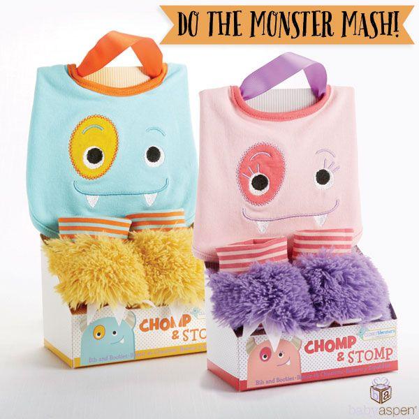 Baby Aspen Monster Mash Giveaway   Halloween   Monster Chomp and Stomp bib and booties gift set   www.babyaspen.com