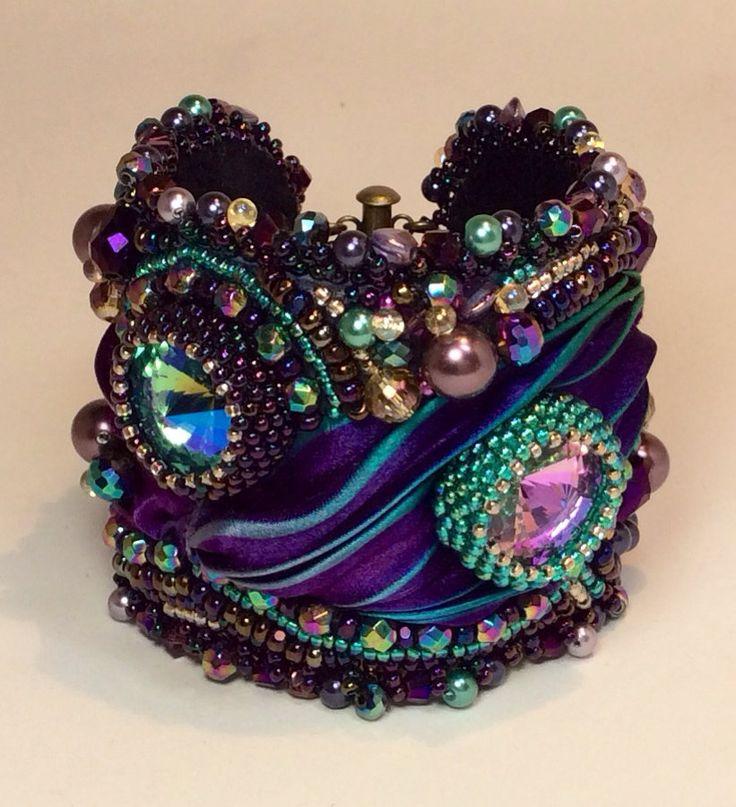 Cuff Bracelet Bead Embroidery Purple Teal Swarovski by ReneGibson