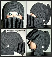Free Pattern Ravelry: Men's Knight Helmet Hat pattern by Amy Lehman