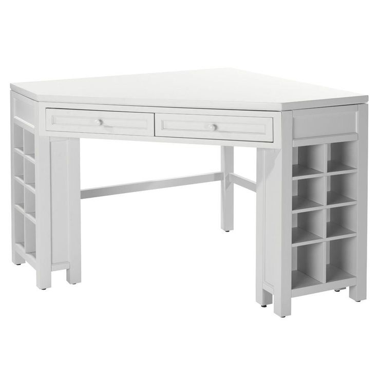 Create the perfect workspace for crafting with this corner craft table. It has plenty of storage space, with two pullout drawers and cubbies on both sides. Its fiberglass construction is also durable and scratch-resistant for all your activities. This table one of The Home Depot's most pinned products.