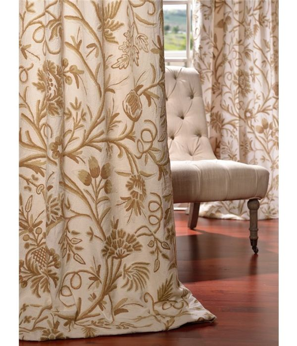 Chantal Embroidered Cotton Crewel Curtain & Drapes