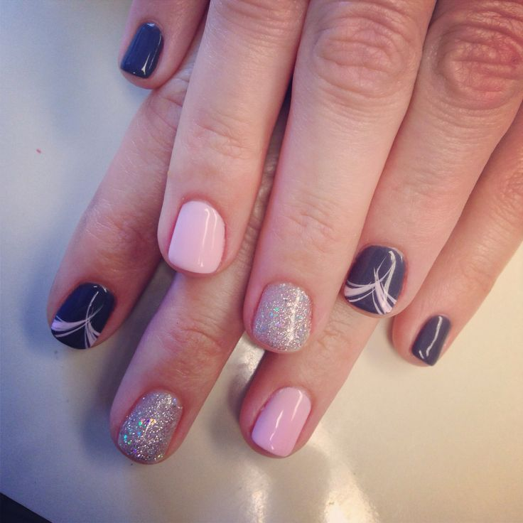 Images Of Nail Polish Designs: Simple But Cute Gel Polish Design-minus The Ring Fingers