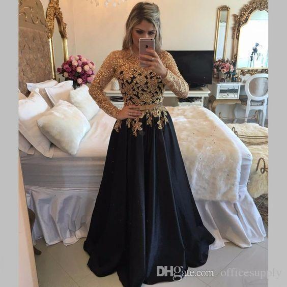 6bece6ffd Resultado de imagen para vestidos negros con dorado de noche