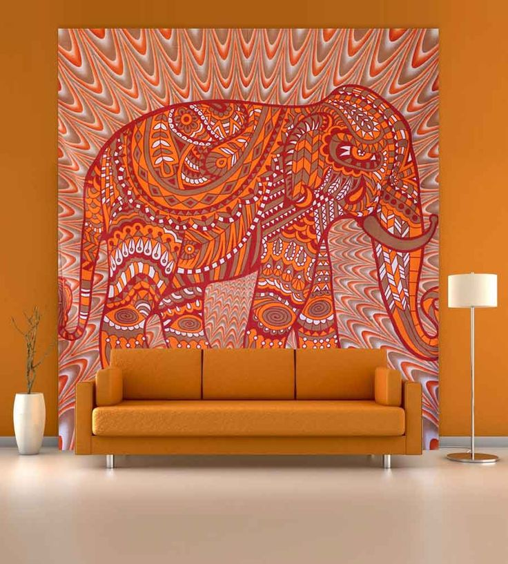 Beautiful light orange and red elephant printed wall hanging tapestry.Perfect for topping a bed, couch, wall or your favorite chair.This Wall Tapestry can also be used as a: - Tapestry or a Wall Hanging, Bedspread, Bed Cover, Table Cloth, Curtain, Dorm Decor, Picnic Sheet Add an ethnic feel to your room with this cotton handmade wall hanging.