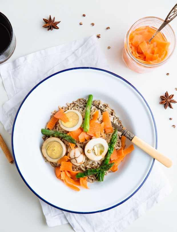 Marbled Egg, Pickled Carrot & Asparagus Rice Salad | Crack the shells of hard boiled eggs, then boil them a second time in a blend of soy sauce, star anise, Earl Grey tea, cinnamon, sugar, and Sichuan peppercorns.
