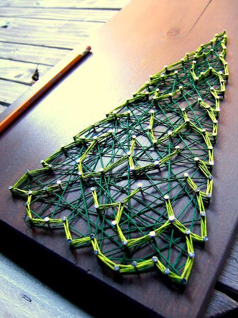 DIY Winter Evergreen String Art Pattern from Nine Red