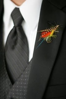 WAY COOL! Fishing lure #Boutonniere #flyfishing theme. or in simple clear box as favors for the men.