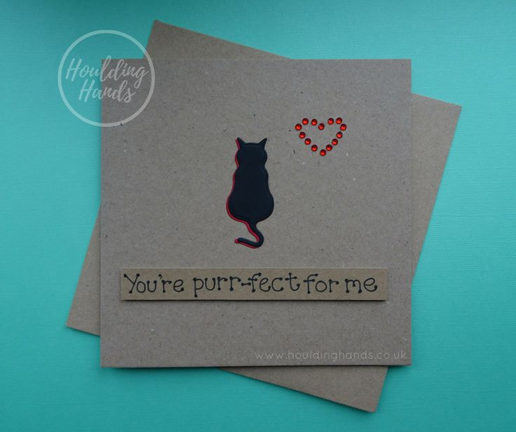 Unique handmade cat silhouette and heart of red gems card.  The card has the silhouette of a cat sitting with their tail hanging down. The shadow of the cat is red which matches the red gems used to make a heart just above the cat. The sentiment is added with 3D foam and reads: Youre purr-fect for me  FRONT OF THE CARD: The card can be personalised with the name of the recipient or a specific sentiment such as: Happy Birthday, Happy Valentines Day or Happy Anniversary free of charge. Please…