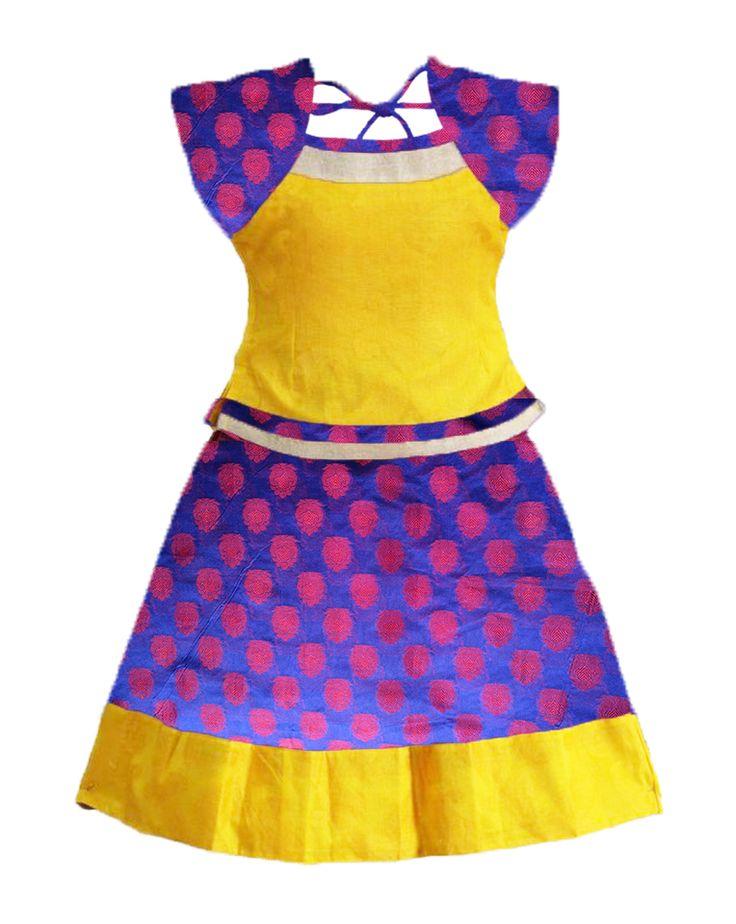 #readymadePattupavadai #kidspattupavadai violet with yellow Pattu pavadai