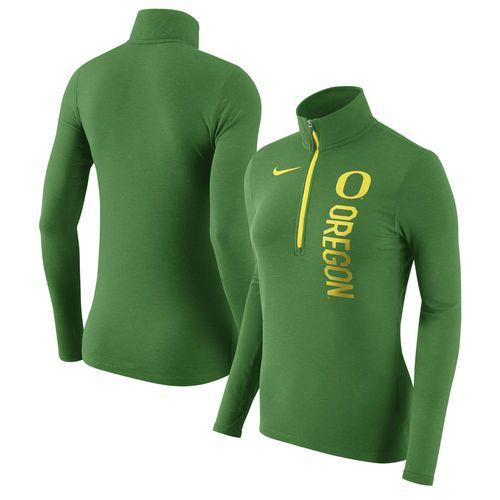 Women's Nike Heathered Green Oregon Ducks Dry Element Quarter-Zip Pullover Jacket