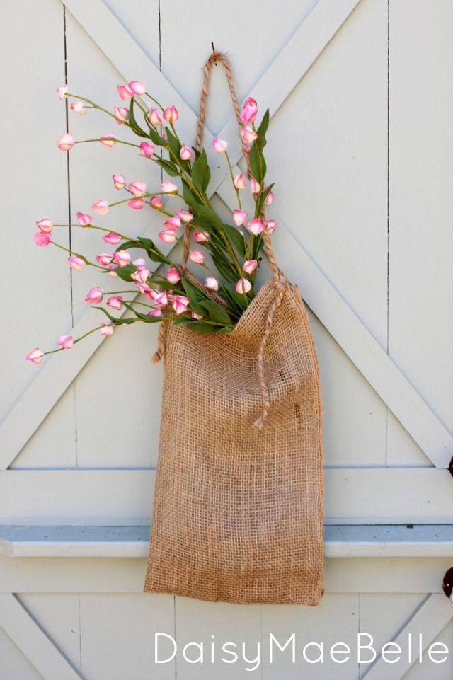 76 best images about spring diy home decor on pinterest for Decorative burlap bags