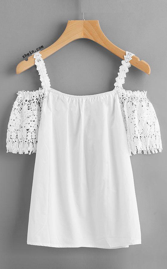 Crochet Lace Insert Cold Shoulder Top