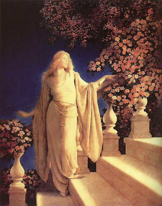 'Cinderella' Illustrated by Maxfield Parrish. MY UNCLE FOUND A PRINT AT A YARD SALE. IT HUNG ON MY GRANDMOTHERS STAIRWAY FOR YEARS. i WAS ALWAYS MESMERIZED BY HER.  ONE OF MY FAV ART WORKS OF ALL TIME!