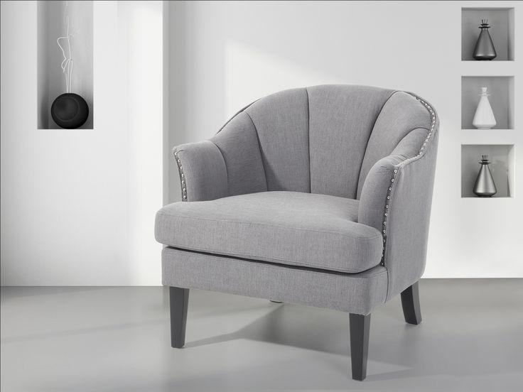 Fotel tapicerowany szary - krzesło - ELVERUM