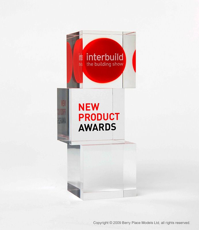 Interbuild Award: Polished acrylic award with encapsulated screen printed logo. Berry Place