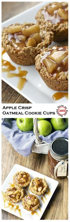 These apple crisp oatmeal cookie cups combine two of the best desserts: apple pie and oatmeal cookies. | 365 Days of Easy Recipes
