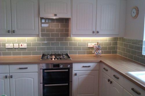 light wood kitchen cupboards black worktop - Google Search