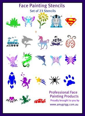 Printable Cheek Art Designs | Face Painting Stencils- Full Set of 23 Stencils