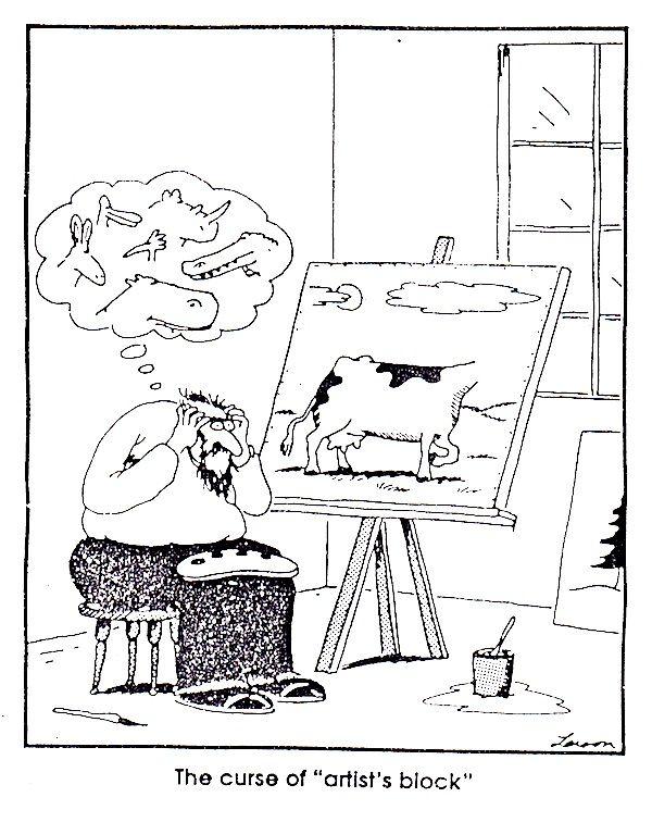 Ways to Fix the Dreaded Curse of Artist's Block   Gary larson cartoons, Far  side comics, Far side cartoons