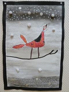 des oiseaux en hiver avec peinture à l'eau
