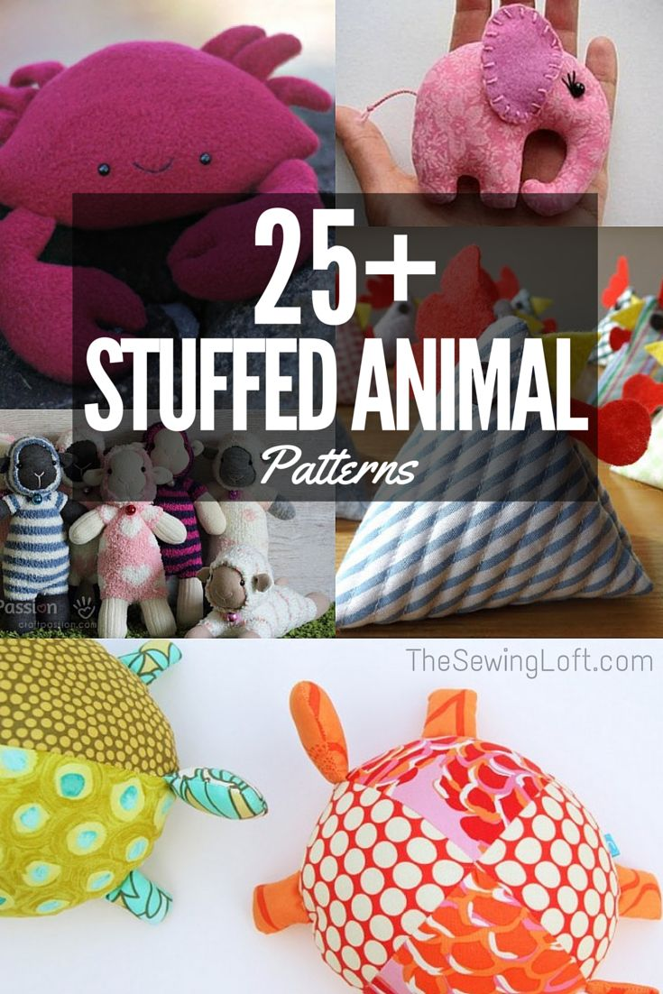 Bring a smile to any child with the free stuffed animal patterns. These free softie and plushie patterns can be downloaded and printed on your home computer.  Many of these are so easy that a beginner can sew them, and you can even sew them my hand without a machine.  Use up your bright and happy scraps and make a whole menagerie of stuffed animals from these free sewing patterns. The Sewing Loft