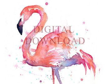 Flamingo aquarel schilderij Art Print Giclee door OlechkaDesign