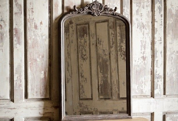 """Huge Antique Inspired Wood Framed Mirror from Antique Farm House. Made of glass and wood with an aged black finish. 56""""H x 36""""W x 2.5""""D. $288.00"""