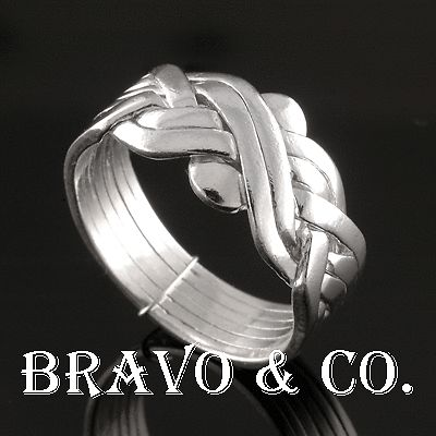 SIZE 10 Finely Made Hallmark Solid Sterling Silver 6 pieces PUZZLE Ring R-098
