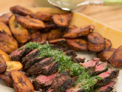 Blackened Hanger Steak with Plantains and Chimichurri | Recipe ...