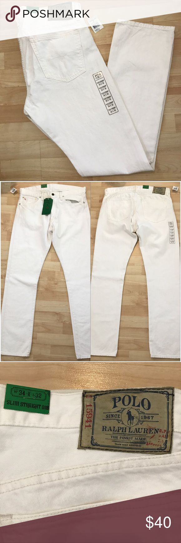 Polo Ralph Lauren men's white jeans Polo Ralph Lauren men's white jeans. Brand new with tags. Size: 34x32 slim Straight. Polo by Ralph Lauren Jeans Slim Straight