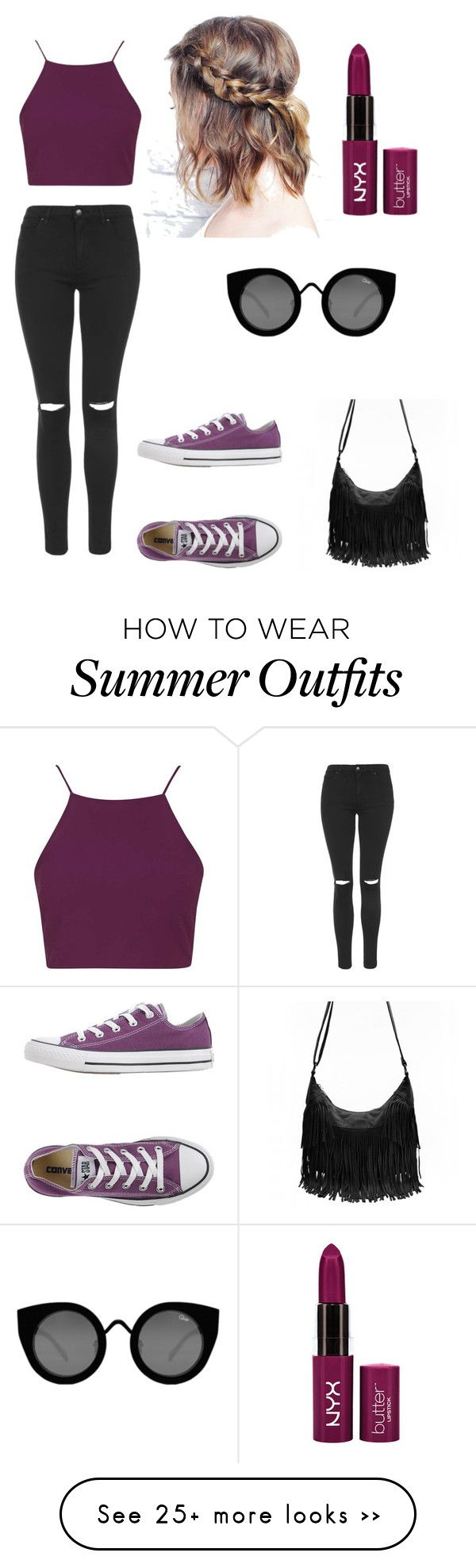 """""""My First Polyvore Outfit"""" by marianzebani on Polyvore featuring Topshop, Converse and Quay"""