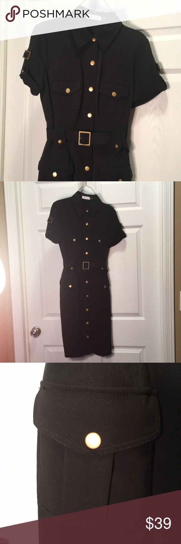Calvin Klein Dress Sz 4 This dress is so flattering on small frame ladies! Calvin Klein belted button up black dress with burnished gold snaps and buckles. Size 4. Step in, the bottom snaps are faux. Smoke free, pet and perfume friendly closet. Thank you for shopping with me. Calvin Klein Dresses