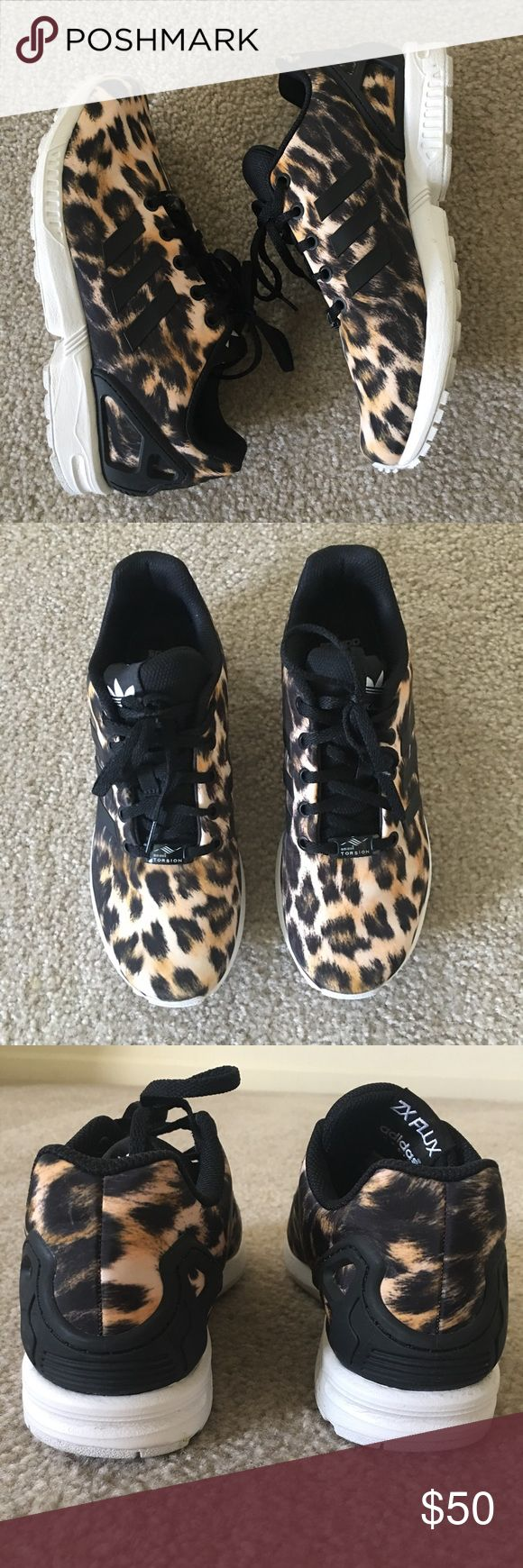 Leopard Print 6.5 Women's Adidas Torsion ZX Flux Very lightly worn Adidas ZX Flux Torsions for women's. Adidas Shoes Athletic Shoes