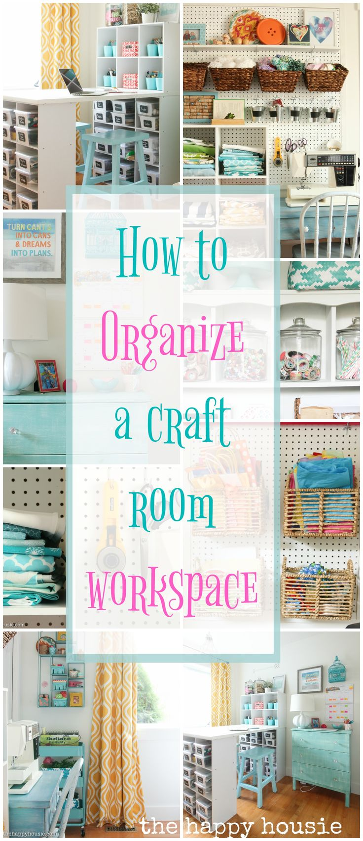 This is full of amazing ideas for how to organize a craft room or creative work space using thrifty and cute storage ideas and a step by step process.