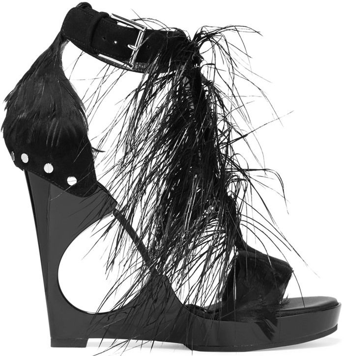 Alexander McQueen Feather-Embellished Suede and Acrylic Wedge Sandals