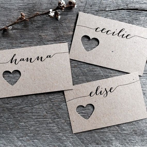 Wedding Fork Place Cards Wedding Place Cards by LaPommeEtLaPipe – Lisa Mueller