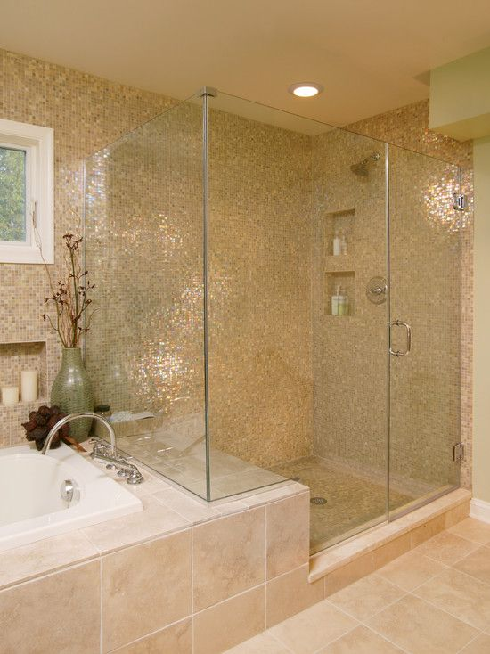 Bathroom Design, Transitional Bathroom Tiles Design With Mosaic Style Also Modern Glass Door Shower Also Modern Shower Head And Beige Tile F...