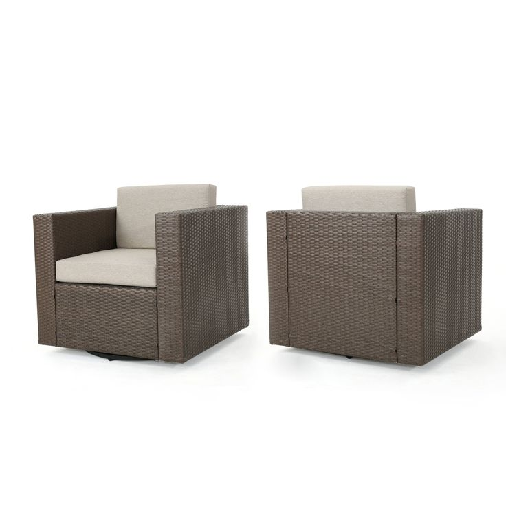 Puerta Outdoor Wicker Swivel Club Chair with Cushions
