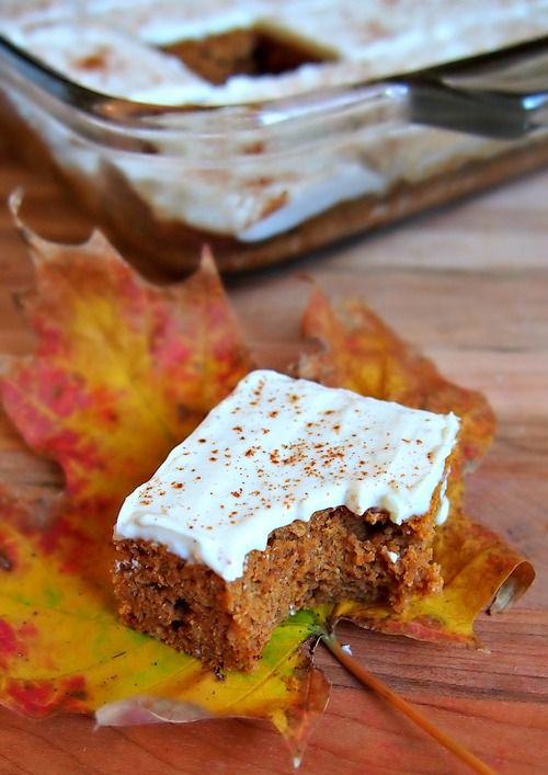 60 Calorie Healthy Pumpkin Bars With A Vanilla Bean Cream Cheese Frosting