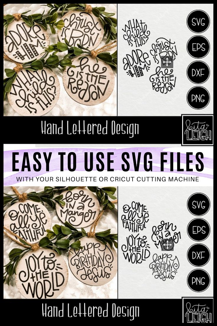 Christmas Hand Lettered Rounds SVG Christmas svg design