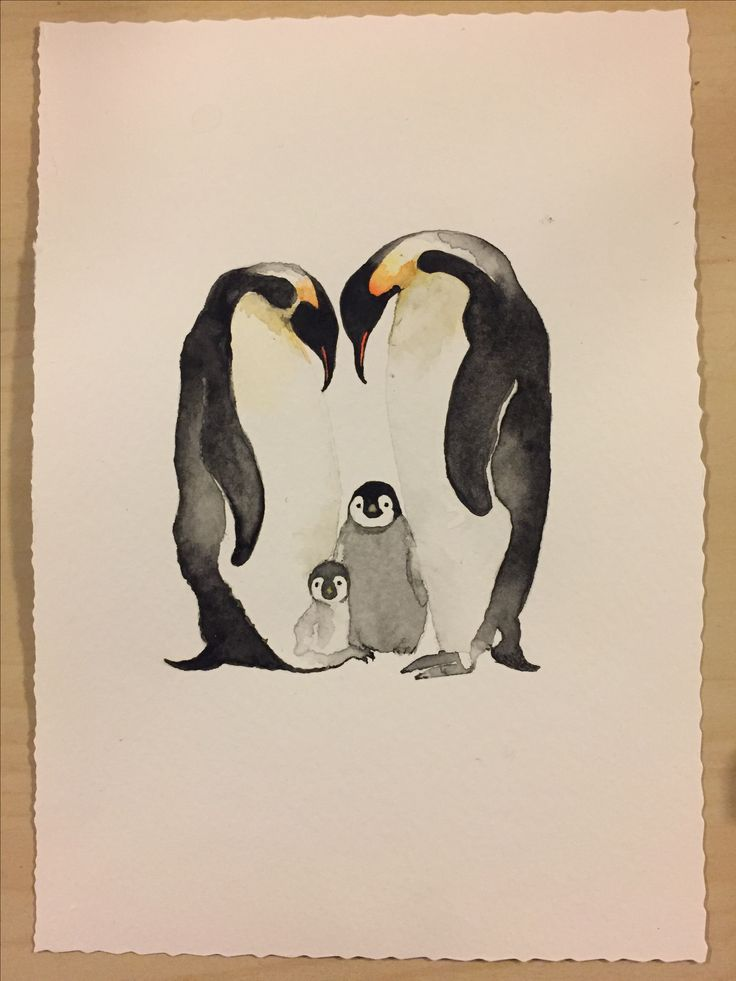 Penguin family watercolor