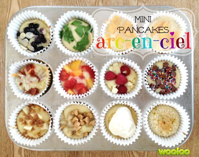 Des mini-pancakes arc-en-ciel cuites au four!