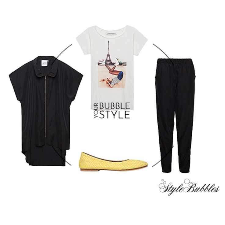 Bubble Your Style in a day to night outfit with Dig Athens pants and cardigan yellow python ballerinas and a paris printed tshirt!  #fashion #stylebubbles #onlineshopping