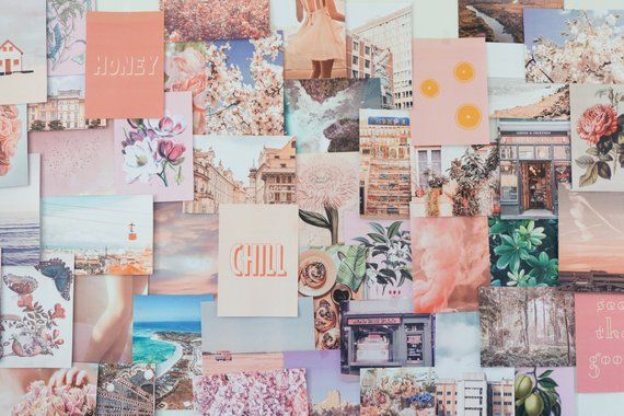 Peachy Pink Collage Kit Etsy Desktop Wallpaper Art Cute Laptop Wallpaper Aesthetic Desktop Wallpaper