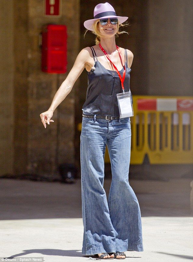 Retro rules: Heidi Klum wore bellbottom jeans while rehearsing for the Germany's Next Topmodel finale in Palma de Mallorca, Spain on Thursday