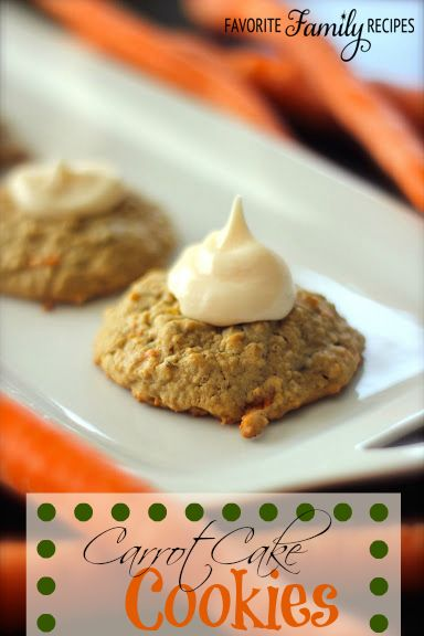 Carrot Cake Cookies with Cream Cheese Frosting from favfamilyrecipes.com