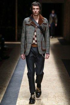 Клетчатая куртка пиджачного кроя осень-зима 2016-2017 от Prada