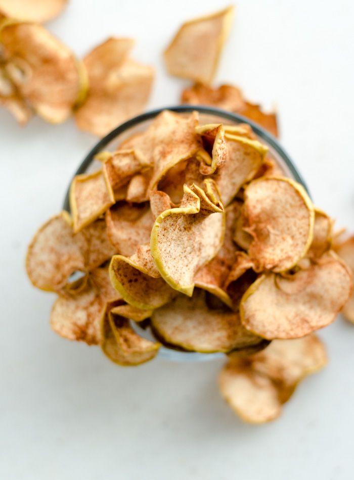Baked Cinnamon Apple Chips - just apples + cinnamon!