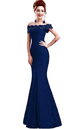 30b7dd1b39 Babyonline Off Shoulder lace red Mermaid Evening Formal Bridesmaid Dress at Amazon  Women s Clothing store