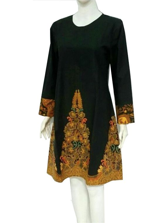 Ethnic Indonesian Javanese Tunic Sogan Batik Dress Long Sleeve All Size